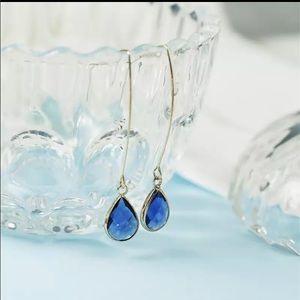 Coming soon blue tear drop earrings